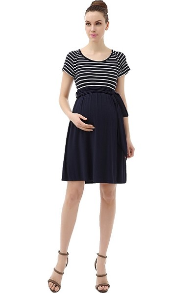 Navy and White Scoop Neck Striped Belted Tie Dress
