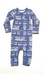 Coccoli Boy Union Suit- Blue and White Train