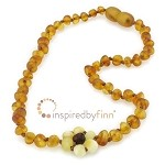 Inspired by Finn Raw Amber Teething Necklace: Unpolished Autumn Flower