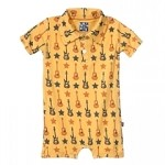 Kickee Pants Print Polo Romper in Fuzz Bee Guitars