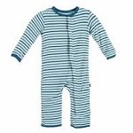 Kickee Pants Print Coverall in Boy Animal Stripe
