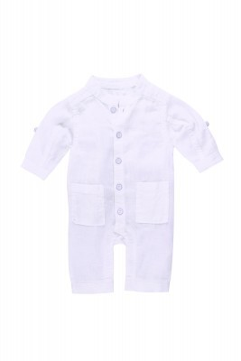 Belly Button White Linen Coveralls
